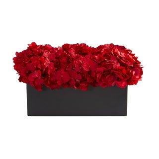 Red Hydrangea Artificial Arrangement in Ceramic Vase