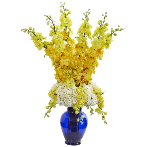 Nearly Natural Blue/White/Yellow Delphinium and Hydrangea Artificial Arrangement with Vase