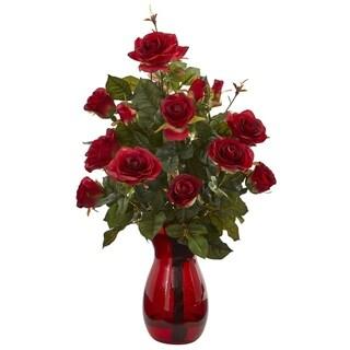 Garden Rose Artificial Arrangement in Red Vase