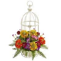 Mix Flower Artificial Arrangement in Birdcage