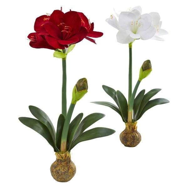 Shop 25 amaryllis artificial flower set of 2 free shipping 25 amaryllis artificial flower set mightylinksfo