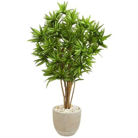 Dracaena Artificial Tree in Sandstone Planter