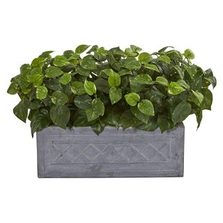 Nearly Natural Pothos Artificial Plant in Stone Planter