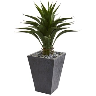 Agave Artificial Plant in Slate Finished Planter