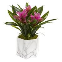 Bromeliad Artificial Plant in Marble Finished Vase