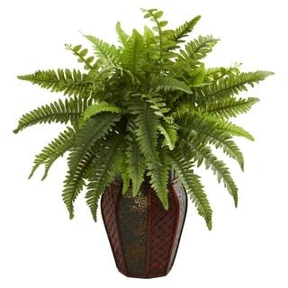 Boston Fern Artificial Plant in Decorative Planter