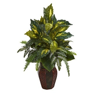 Mixed Greens Artificial Plant in Decorative Planter