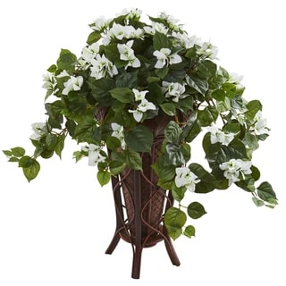 Nearly Natural Bougainvillea Artificial Plant in Stand Planter