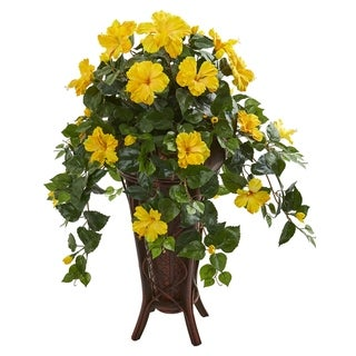 Hibiscus Artificial Plant in Stand Planter