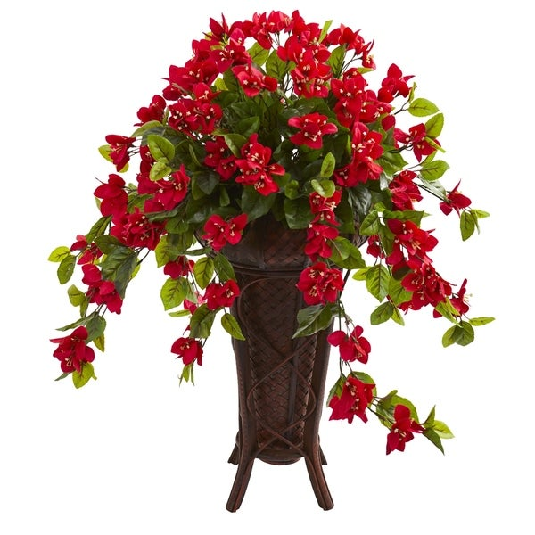 Bougainvillea Artificial Plant in Stand Colored PlanterPlanter