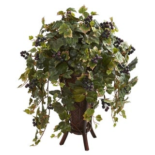 Grape Leaf Artificial Plant in Stand Planter