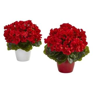Geranium Artificial Plant in Ceramic Vase UV Resistant (Indoor/Outdoor) (Set of 2)