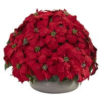 Large Poinsettia Artificial Plant in Stone Planter