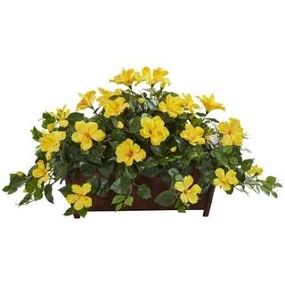 Hibiscus Artificial Plant in Decorative Planter