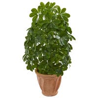 Baby Schefflera Artificial Plant in Terra Cotta Planter (Real Touch)
