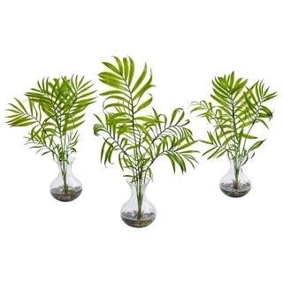 Mini Acera Palm Artificial Plant in Vase (Set of 3)