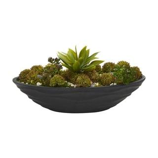 Agave & Succulent Garden Artificial Plant in Black Planter