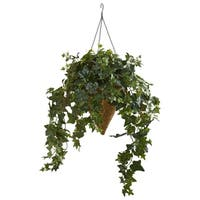 Ivy Artificial Plant in Cone Hanging Basket Basket