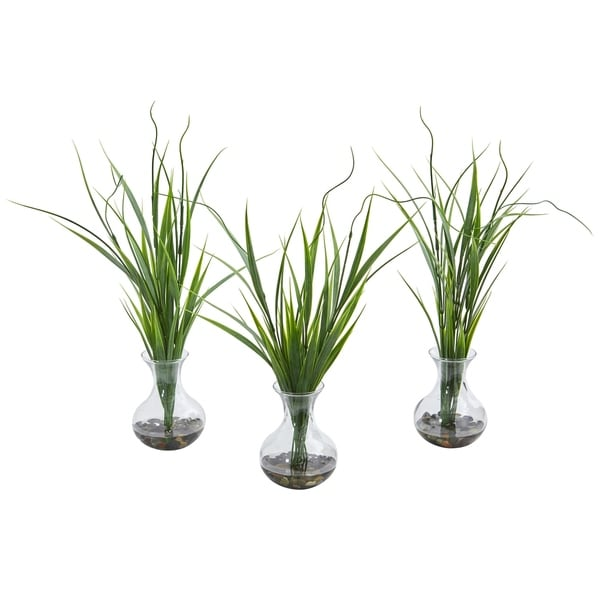 Grass Artificial Plant in Vase (Set of 3)