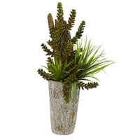 Succulent and Grass Garden Artificial Plant in Weathered Planter
