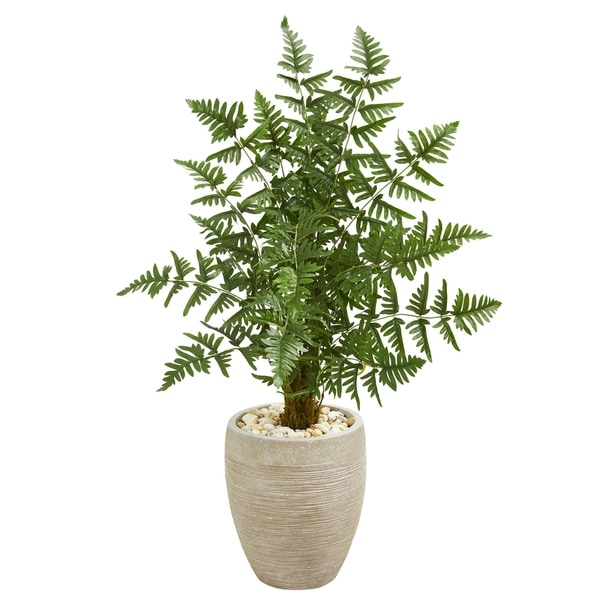 Ruffle Fern Palm Artificial Tree in Sand Colored Planter
