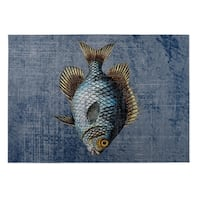 Kavka Designs Blue/ Gold/ Brown Fish 2' x 3' Indoor/ Outdoor Floor Mat (As Is Item)