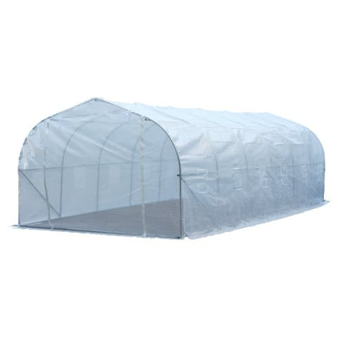Outsunny 26' x 10' x 6.5' Large Outdoor Heavy Duty Walk-In Greenhouse - White