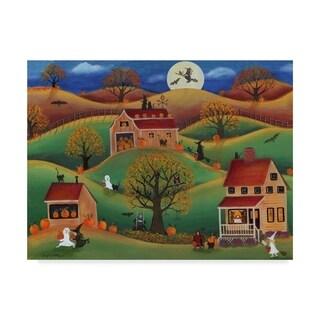 Cheryl Bartley 'Halloween Autumn Pumpkin Farm' Canvas Art - Green