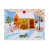 Cheryl Bartley 'Snowman Peace And Joy' Canvas Art - White