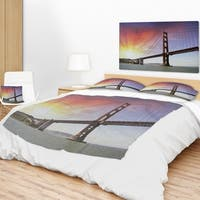 Designart 'Gold Gate Bridge and Sky' Landscape Photo Throw Blanket