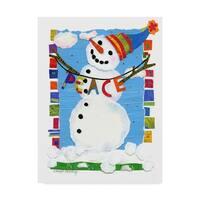 Cheryl Piperberg 'Peace Snowman' Canvas Art - White