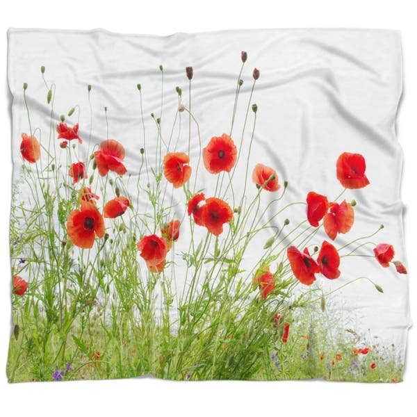 Designart Poppies On White Background Floral Throw Blanket Overstock 22349640