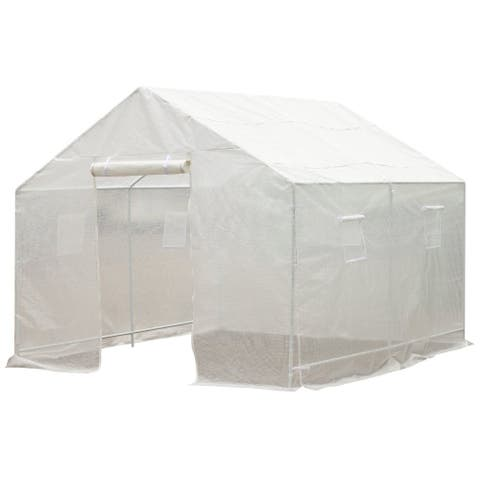 Outsunny 10' x 9.5' x 8' Outdoor Ventilated Portable Walk-In Greenhouse with White PE Cover