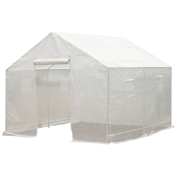 Outsunny 10' x 9.5' x 8' Outdoor Ventilated Portable Walk-In Greenhouse with White PE Cover. Opens flyout.