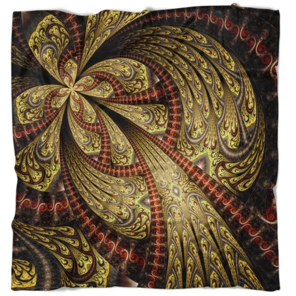 Designart Symmetrical Brown Red Fractal Flower Floral Throw Blanket Overstock 22350080