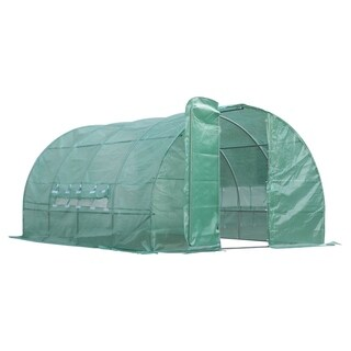 Outsunny 13' x 10' x 6.5' Outdoor Portable Walk-In Greenhouse with PE Cover - Green