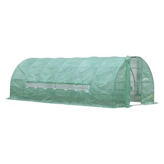 Outsunny 20' x 10' x 6.5' Outdoor Portable Walk-In Greenhouse with PE Cover - Green