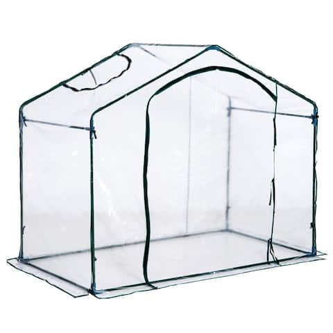 Outsunny 6' x 3.5' x 5' Outdoor Portable Walk-In Greenhouse with Clear PVC Cover & a Modern Open Design - Green