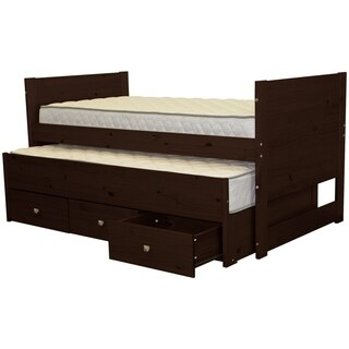 Bedz King Captains Cappuccino Pine Twin 3-drawer Bed and Trundle