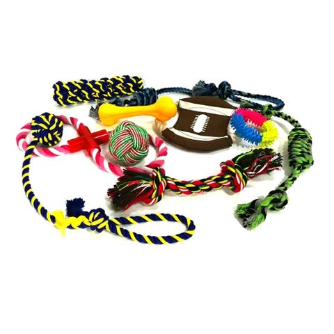 ALEKO Dog Rope Chew Toy with Rubber Bone and Ring 10 pcs Multicolor