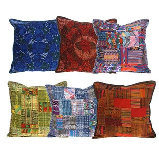 Handmade Embroidered Patchwork Cotton Pillow Cover (Guatemala)
