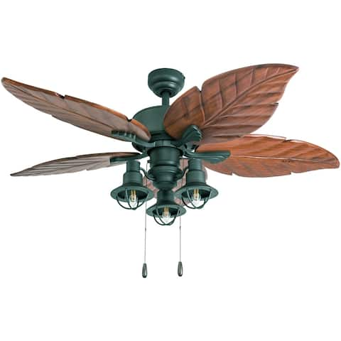 Copper Grove Kupiansk 52-inch Aged Bronze LED Ceiling Fan with Dark Cherry Hand-carved Blades