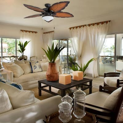 """Prominence Home Delray Tropical 52"""" Aged Bronze Damp Rated Ceiling Fan, Globe Globe Mocha Blades"""