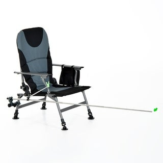 Outsunny Aluminum Folding Fishing Camp Chair with Rod Holder - Grey
