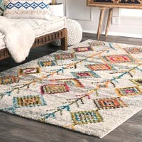 nuLoom Contemporary Electric Aztec Diamonds Glam Dark Grey/Multicolor Shag Area Rug - 9' x 12'