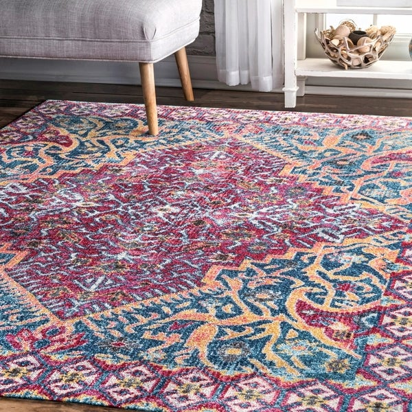 shop nuloom red modern hip coachella faded medallion area rug on sale free shipping today. Black Bedroom Furniture Sets. Home Design Ideas
