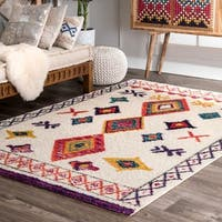 "nuLOOM Ivory Contemporary Bohemian Tribal Diamonds Shag Area Rug - 6'7"" x 9'"