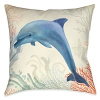 Laural Home Whimsical Dolphin Outdoor Throw Pillow