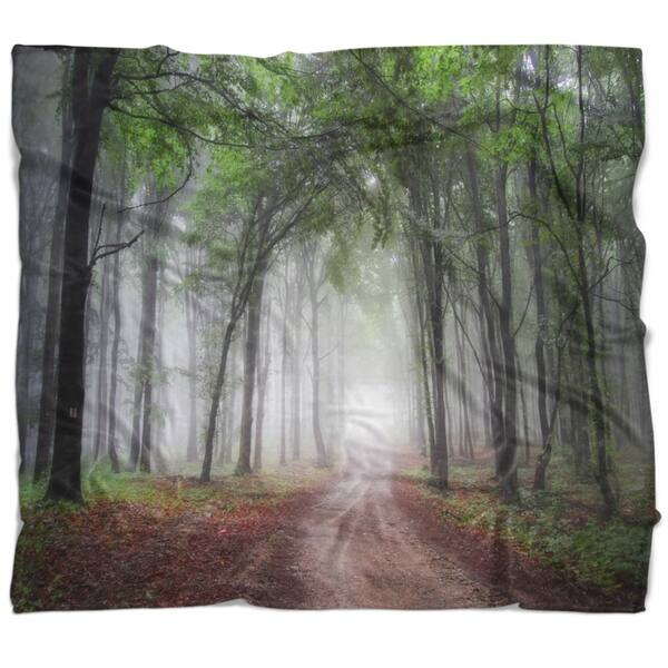 Designart Light Through Green Fall Forest Landscape Photography Throw Blanket Overstock 22353973