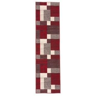 Modern Red Boxes Design Non-slip (Non-skid) Runner Rug - 2' x 7' Runner